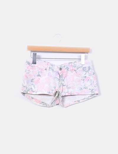 Shorts denim print floral Bershka
