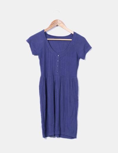 Vestido de punto azul marino Porta fortuna
