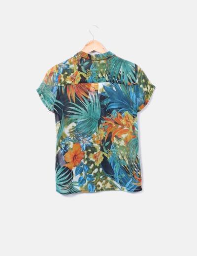 Camisa fluida floral manga corta