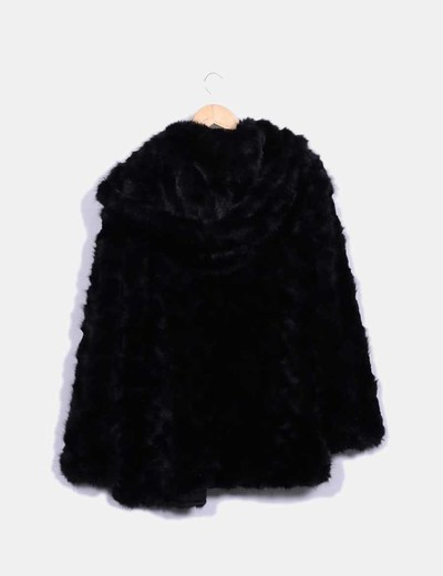 Micolet Zara Pelo descuento Capucha Negro Abrigo Con 63 nxg87v0aqw