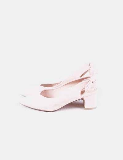 Zapatos heels rosa con lazo Alta Moda