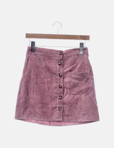 Falda de pana rosa con botones