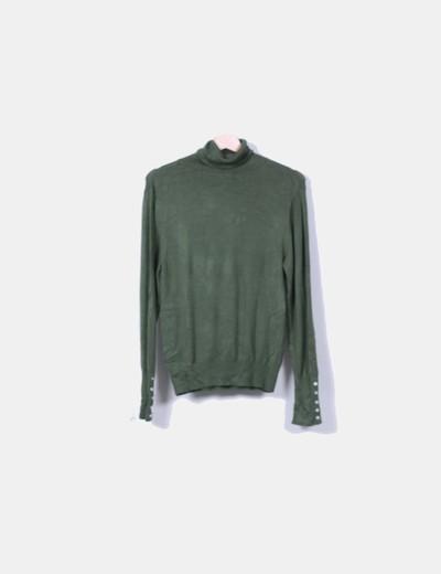Jersey tricot verde cuello vuelto