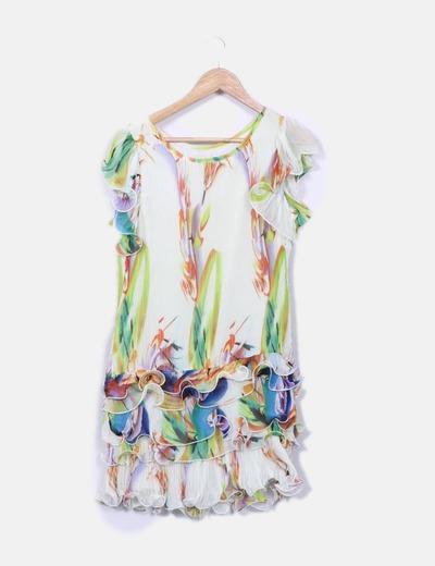 Vestido seda estampado multicolor