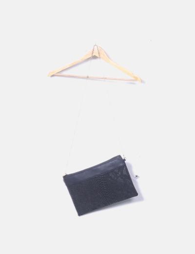 Bolso negro animal print