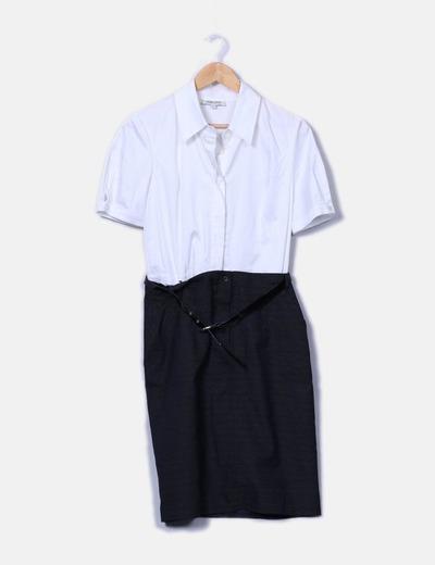 Vestido combinado detalle cinturón Georges Rech