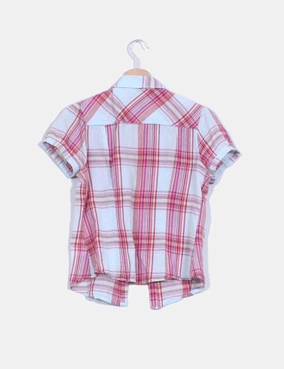 Camisa manga corta estampado cuadros