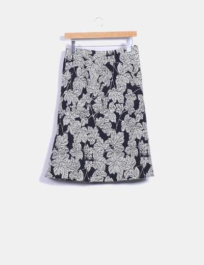 Falda texturizada con estampado floral bicolor Carolina Herrera