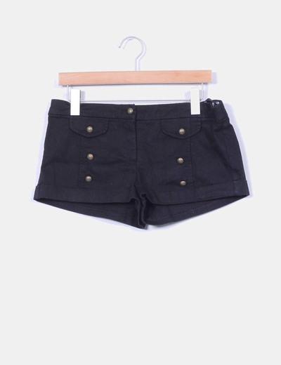 Shorts negros detalle botones Topshop