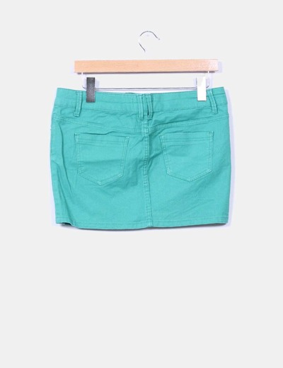 Mini falda denim verde