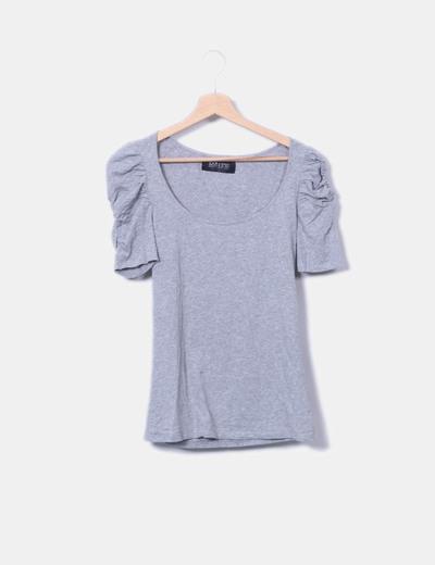 Zara T-shirt gris à manches bouffantes (réduction 75%) - Micolet dac9927fa7ce