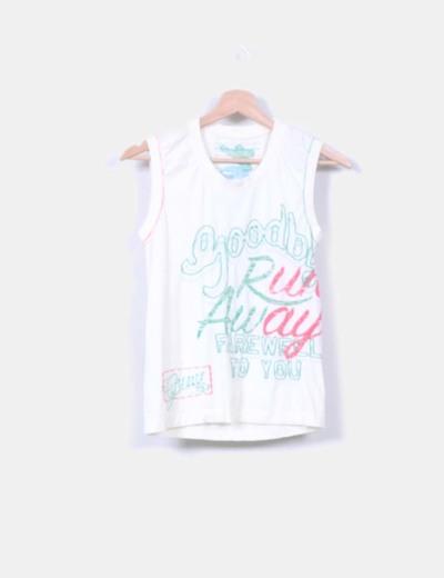 Camiseta beige print letras NoName