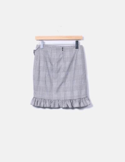 Falda mini gris de cuadros