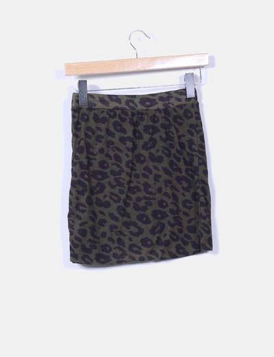 Mini falda verde animal print