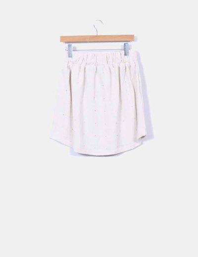 Falda tricot beige con strass