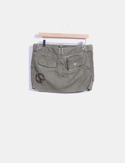 Minifalda denim verde