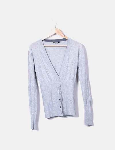 Suéter gris largo abotonado Mango