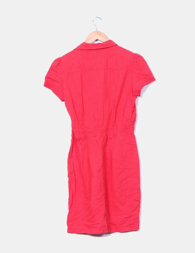 Vestido color frambuesa de lino