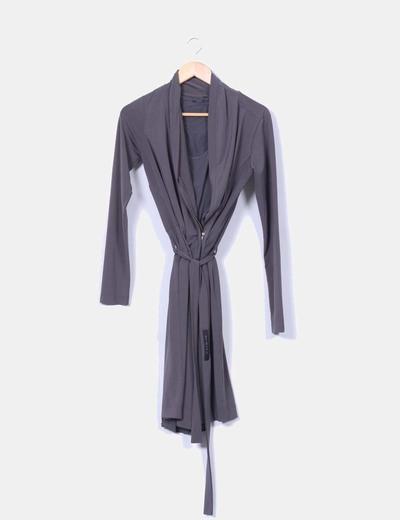 Vestido gris efecto chaqueta IKKS