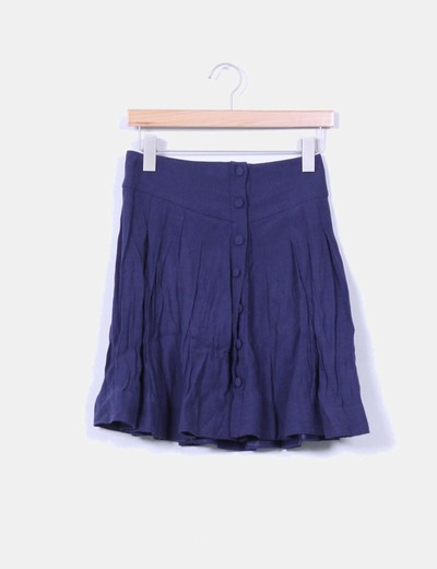 Falda mini azul marino abotonada NoName