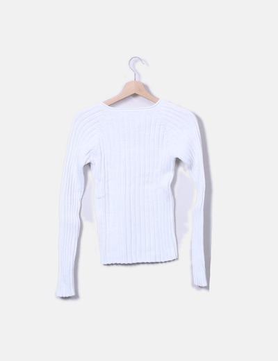 Jersey de punto blanco cuello pico