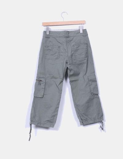 Pantalon khaki cargo culotte