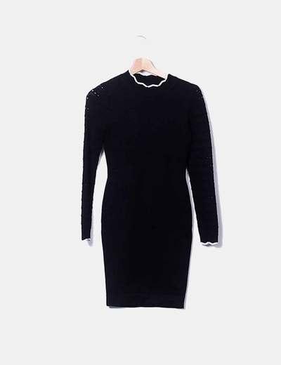 Vestido negro tricot mangas troqueladas Karen Millen