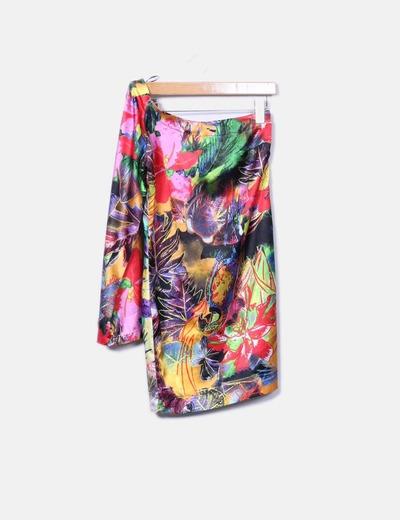 Vestido asimétrico estampado combinado multicolor NoName