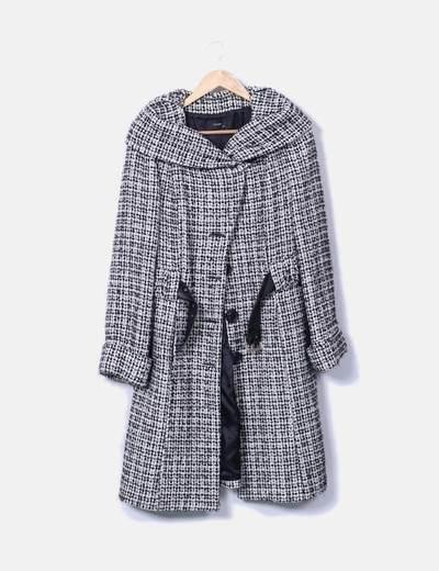 Abrigo largo texturizado bicolor
