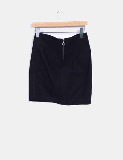 Falda mini negra con cremallera