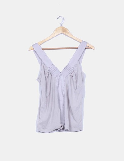 Top gris combinado escote satinado