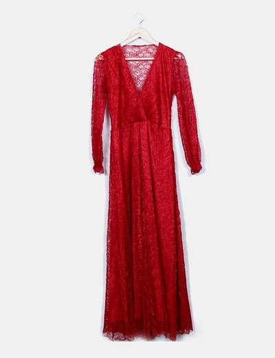 Vestido maxi rojo con encaje Uterqüe
