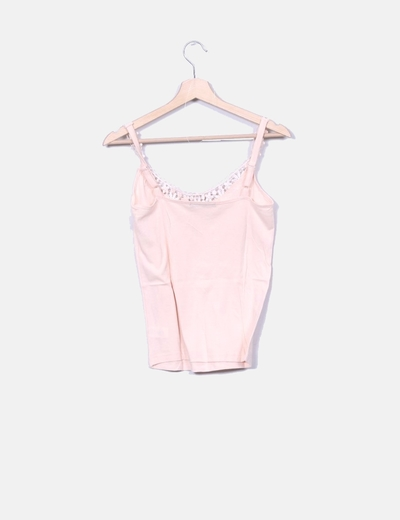 43886cb7c0e37 Primark Camiseta de tirantes rosa palo con puntilla (descuento 80%) -  Micolet