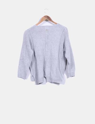 Jersey tricot gris con bolsillo