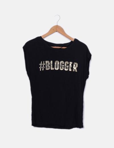 Camiseta negra print Blogger