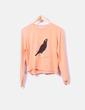 Jersey tricot naranja print pájaro Kling