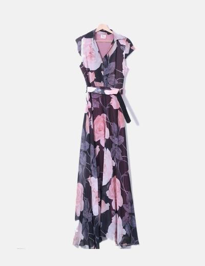 Vestido maxi floral rosa