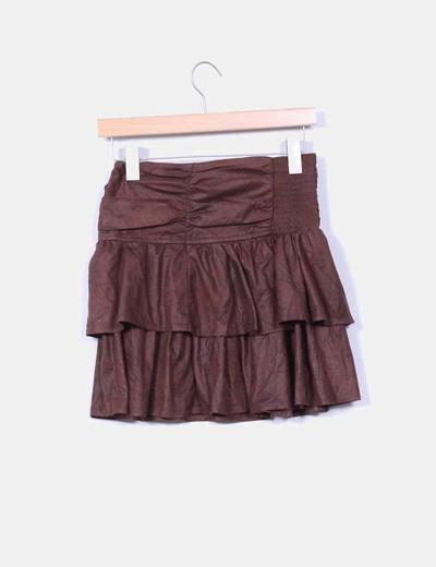 Falda marron texturizada