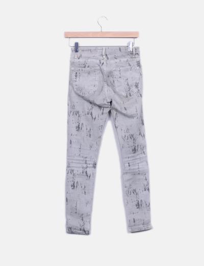 Jeans denim pitillo gris tie dye