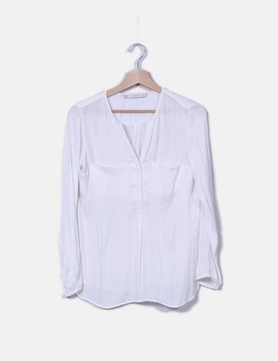 68a560b31 Zara Blusa blanca con bolsillos (descuento 72%) - Micolet