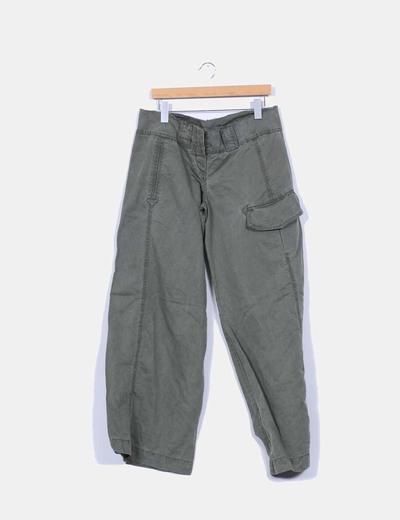 Pantalón kaki ancho acotté