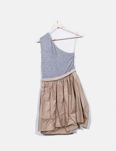 Vestido asimetrico combinado