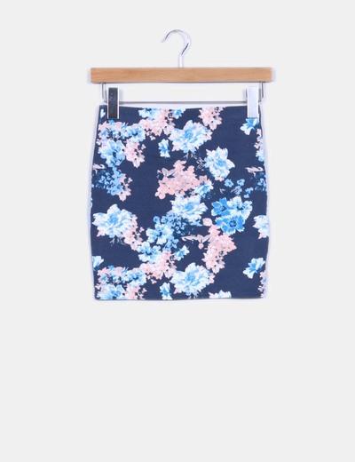 Mini falda azul floreada Pull & Bear