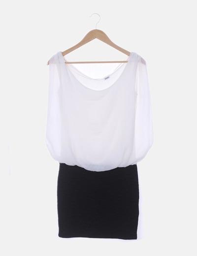 Vestido de gasa blanca combinado
