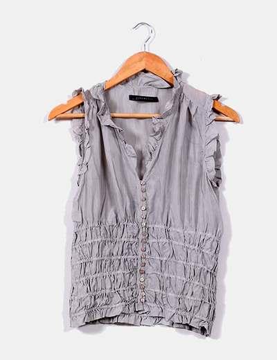 Blusa gris fruncida Zara