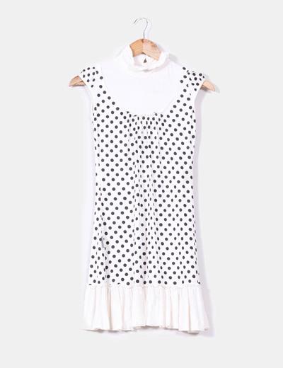 Vestido blanco de topos negros Kling