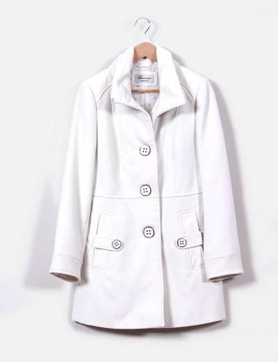 Abrigo blanco de paño C&A