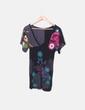 Camiseta negra escote pico print flor Desigual