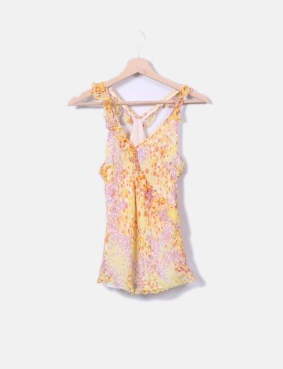 Zara Blouse multi-couleurs en mousseline de soie (réduction 80%) - Micolet 2c578f817649
