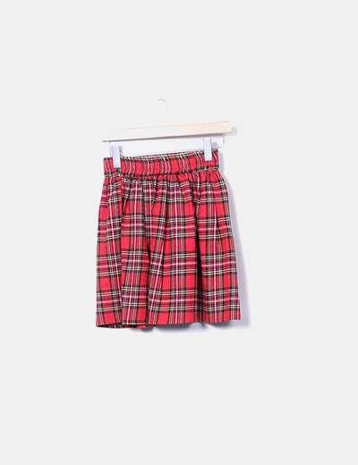 Mini falda cuadros rojos